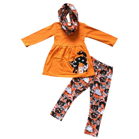 Toddler Girls 3 Pieces Set Halloween Boo Cat Top Pants Scarf Kids Outfit Orange 2T XS (P500081P)