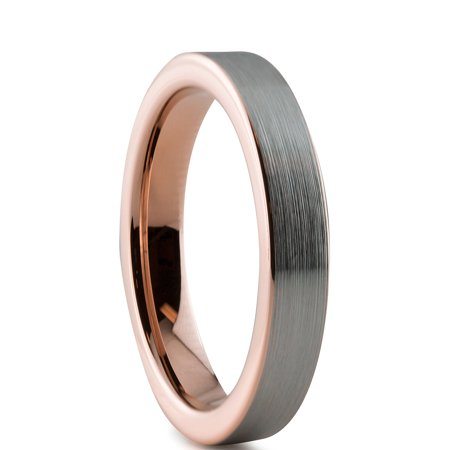 Tungsten Wedding Band Ring 4mm for Men Women Comfort Fit 18K Rose Gold Plated Plated Pipe Cut Flat Brushed Polished Lifetime Guarantee - image 1 of 5