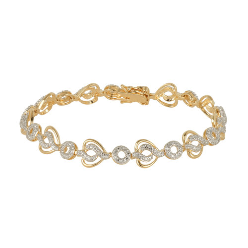 Diamond Accent 18kt Gold and Rhodium over Sterling Silver Bracelet, 7.25""