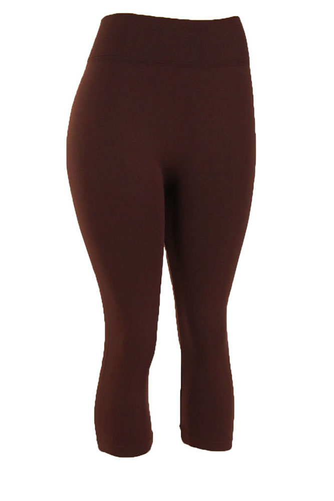 Yelete Women's Plus Size Capri Cropped Solid Color Leggings