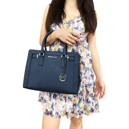 2311296d1061 Michael Kors Dillon Medium Top Zip Satchel Handle Bag Navy Crossbody -  Walmart.com