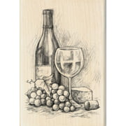 "Inkadinkado Mounted Rubber Stamp 4""X2.75""-Wine & Cheese"