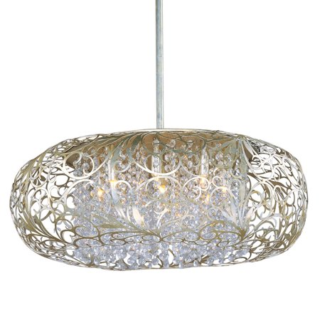 Maxim Lighting Arabesque Nine Light Pendant Golden Silver Finish With Beveled Gl