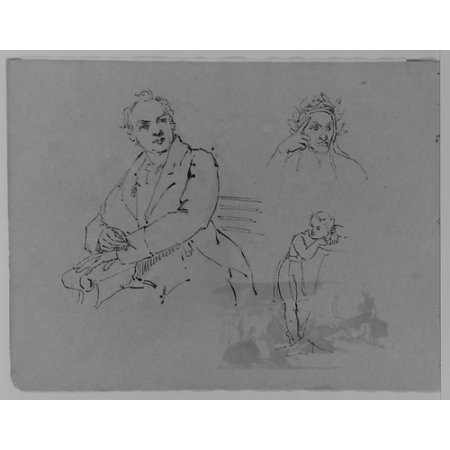 """Portrait of Seated Man Bust of Contemplative Dante Child Leaning on a Womans Lap (from Sketchbook) Poster Print by Thomas Sully (American Horncastle Lincolnshire 1783  """"1872 Philadelphia Pennsylvania)"""