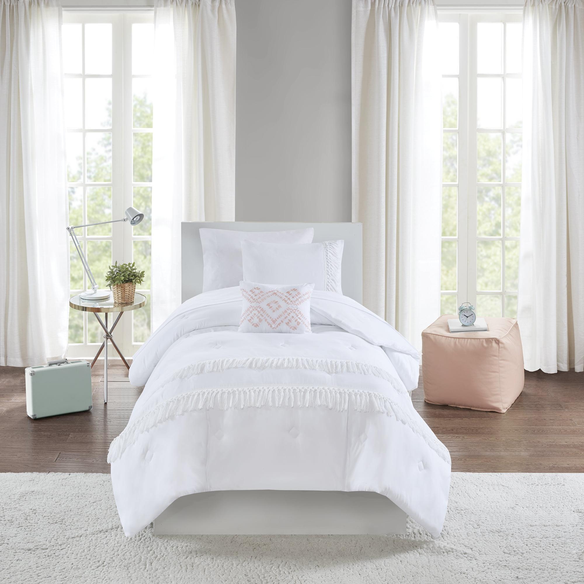 Mainstays Solid Fringe Bed in a Bag Comforter Bedding Set