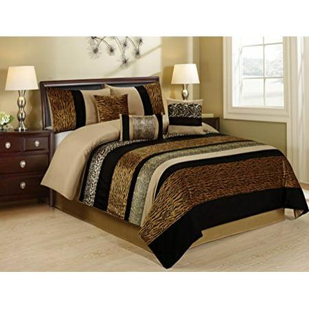 7 piece samber fuax fur patchwork clearance bedding comforter set fade resistant wrinkle free. Black Bedroom Furniture Sets. Home Design Ideas