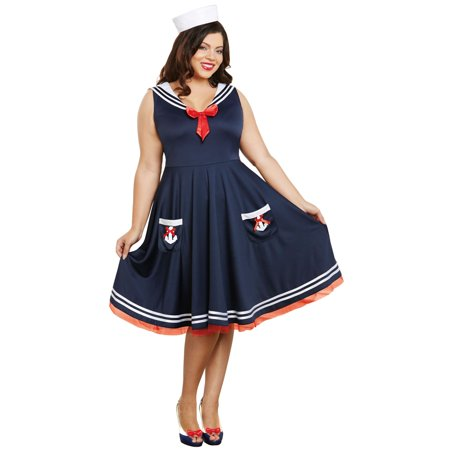 All Aboard Sailor Dress and Hat Adult Costume - Sailor Pinup Costume