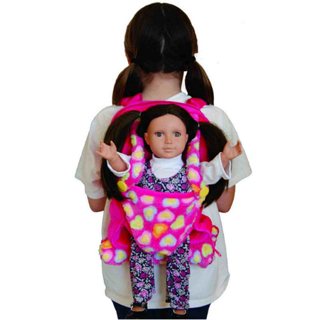 Pink Childs Backpack Doll Carrier & Sleeping Bag Clothes & Accessory Storage for 18
