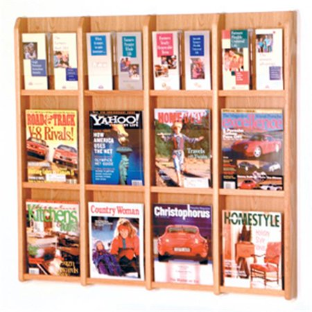 Wooden Mallet LM-16LO Divulge 12 Magazine and 24 Brochure Wall Display with Brochure Inserts in Light Oak
