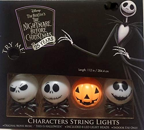 The Nightmare Before Christmas 25 Years The Many Faces of Jack Skellington  and the Pumpkin King 8 Ct Musical String Lights , Plays