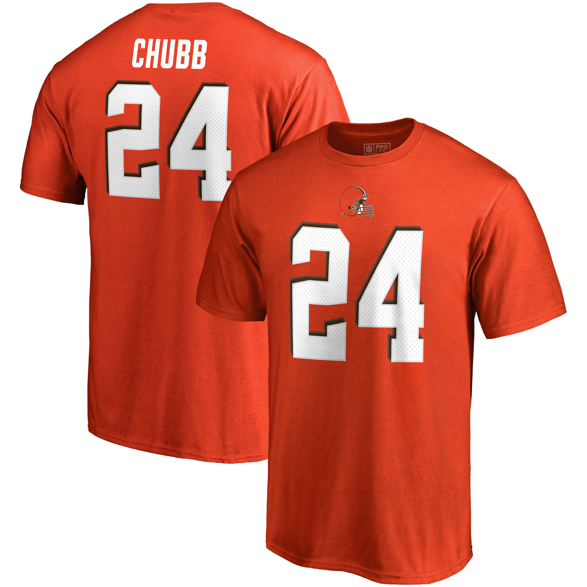 Nick Chubb Cleveland Browns NFL Pro Line by Fanatics Branded Authentic Stack Name & Number T-Shirt - Orange