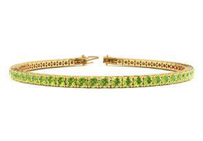 9 Inch 4 1 3 Carat Peridot Tennis Bracelet In 14K Yellow Gold by