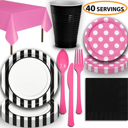Disposable Tableware, 40 Sets - Midnight Black and Hot Pink - Striped Dinner Plates, Dotted Dessert Plates, Cups, Lunch Napkins, Cutlery, and Tablecloths:  Party Supplies Set](Party Plates And Cups)