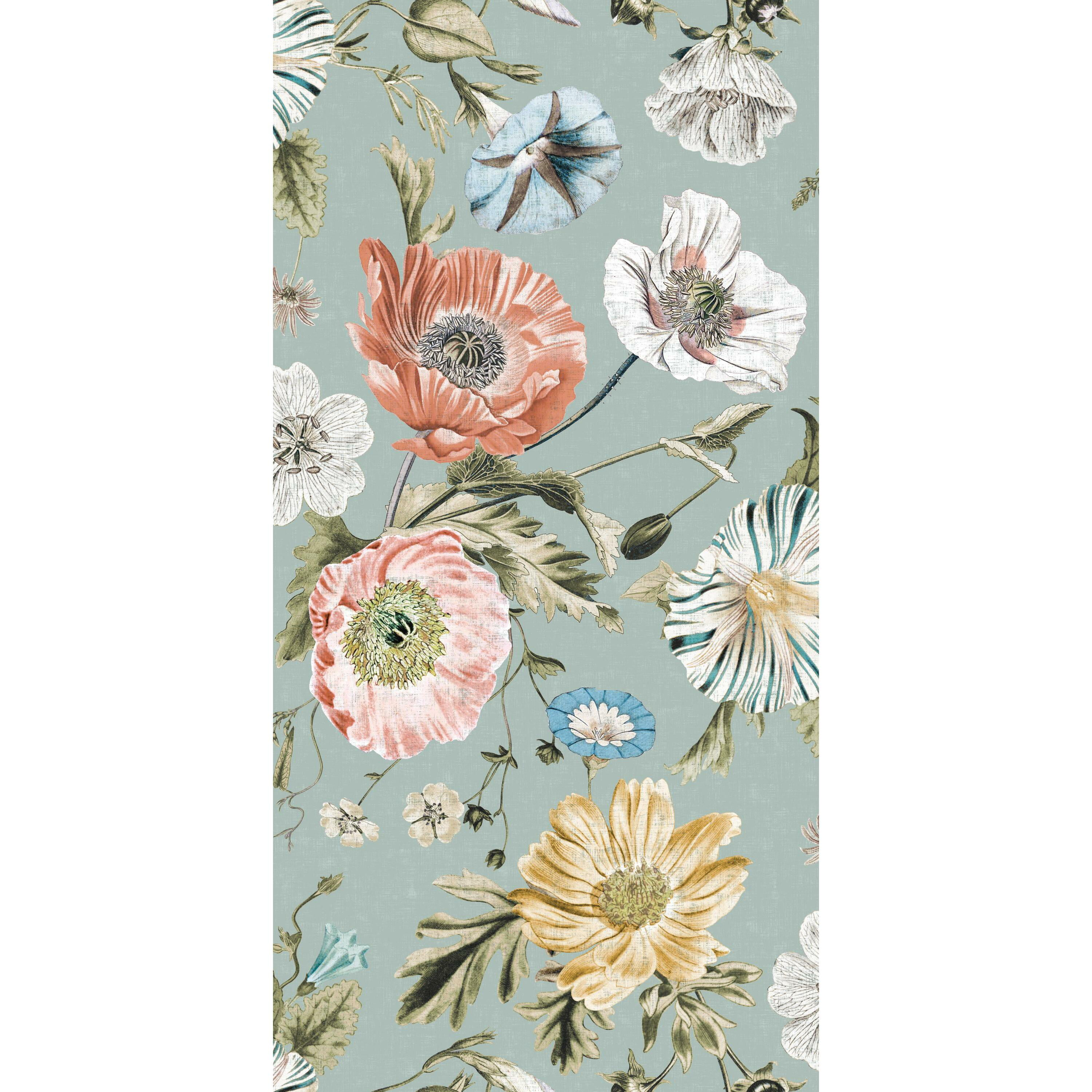 RoomMates Vintage Poppy Teal Blue Floral Peel and Stick ...