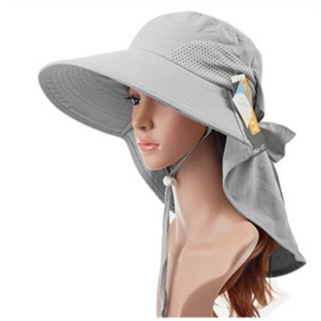 16e93197ec9 Auch - Auch Adjustile Quick-drying Outdoor UV Spf 50+ Large Brim Visor  Boonie Sand Beach Sun Hat with Net Protection for Women w Horsetails(Gray)  - Walmart. ...