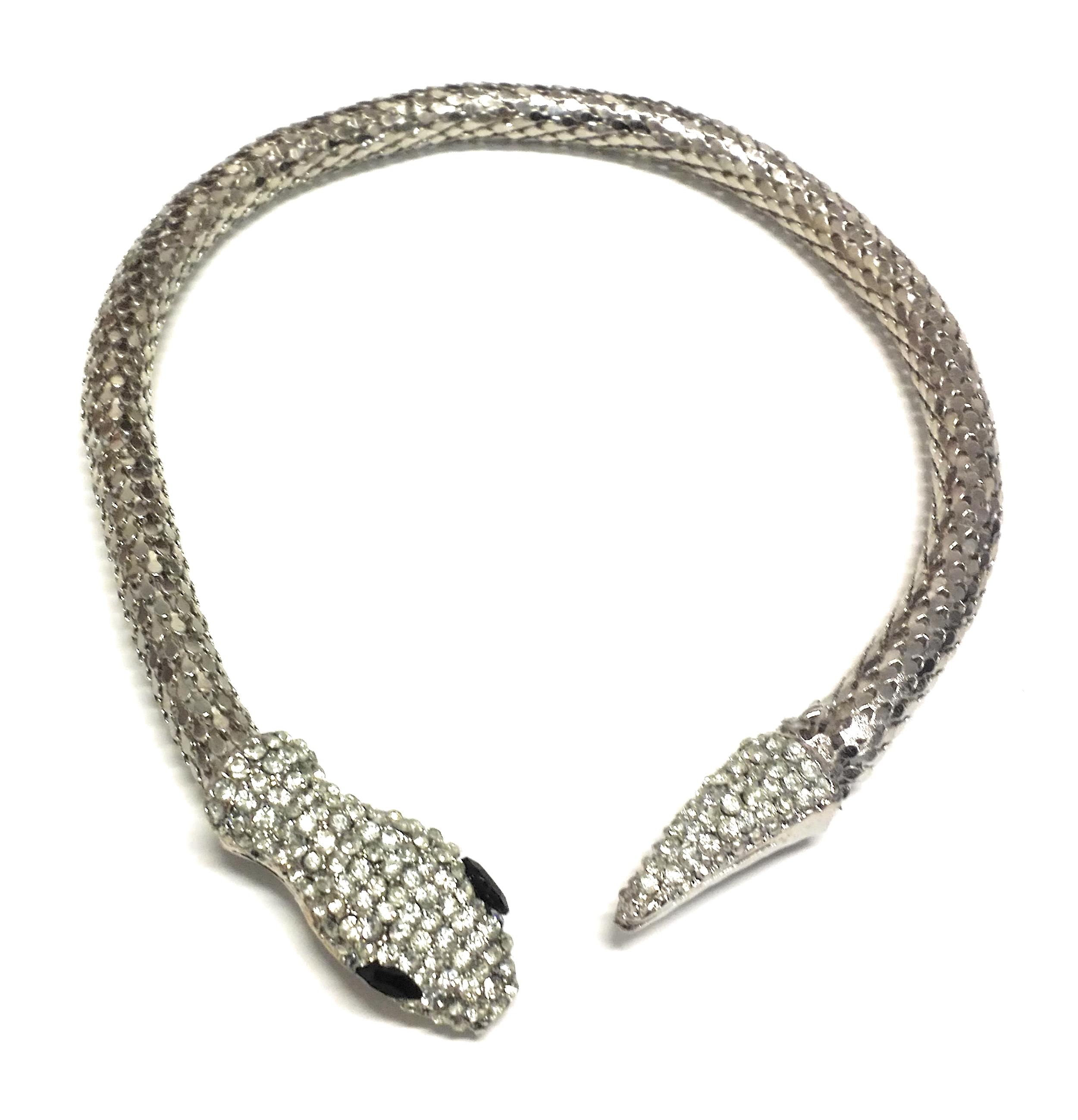 Egyptian Asp Metal Snake Costume Choker Necklace, Silver, One Size