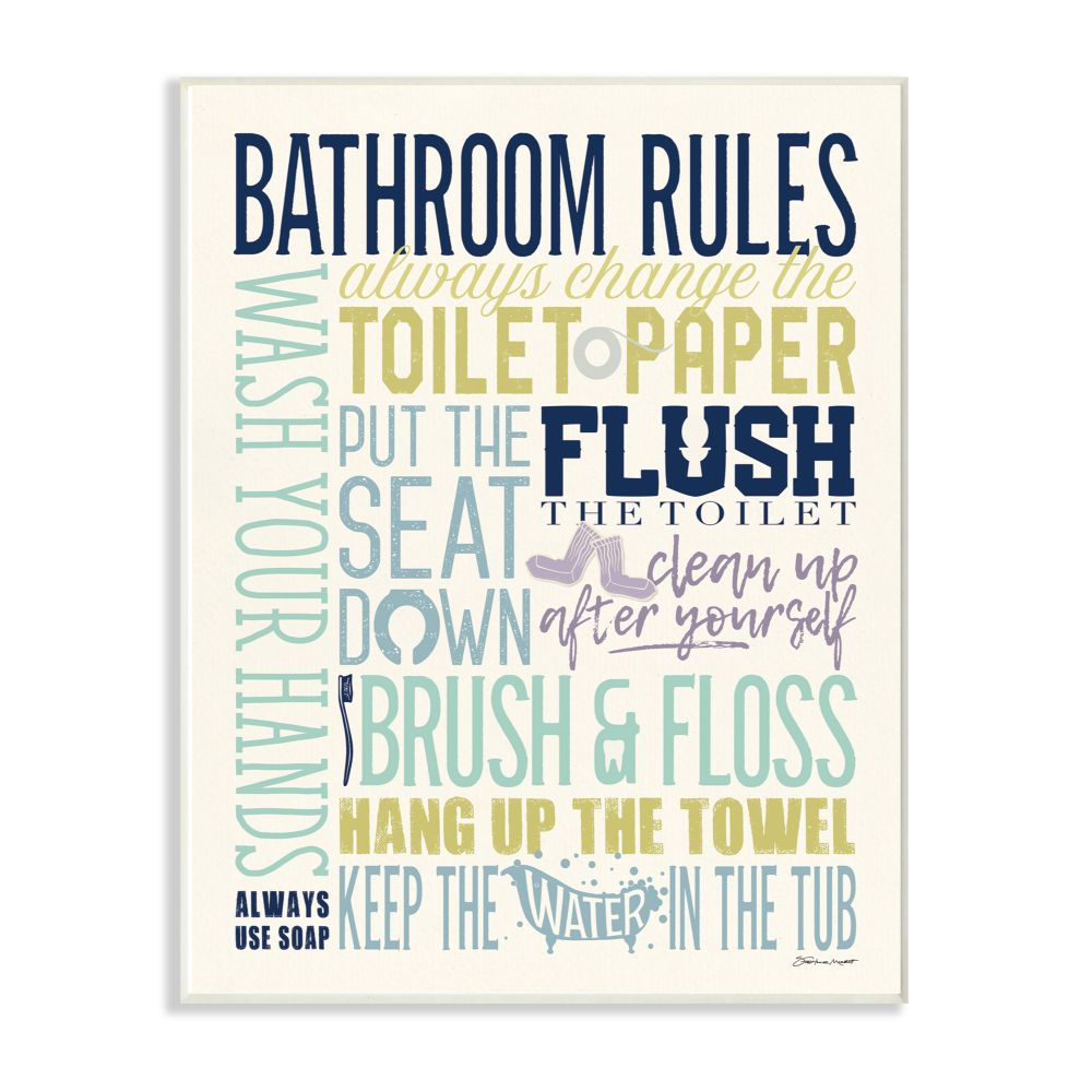 The Stupell Home Decor Collection Bathroom Rules Aqua Blue Green And Purple Colorful Typography Wall Plaque Art Walmart Com Walmart Com