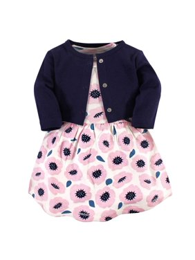 Touched By Nature Toddler Girls Organic Cotton Dress & Cardigan, 2pc Outfit Set (Sizes 2T-5T)