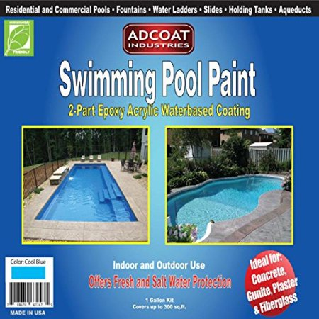 Swimming Pool Paint, 2-Part Epoxy Acrylic Waterbased Coating, 1 Gallon Kit - Cool Blue Color