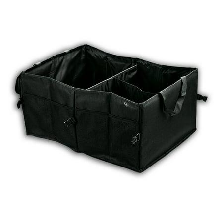 Zone Tech Multipurpose Cargo Trunk Storage Car Console Foldable Black  Leakproof Heavy Duty Black Vehicle Organizer