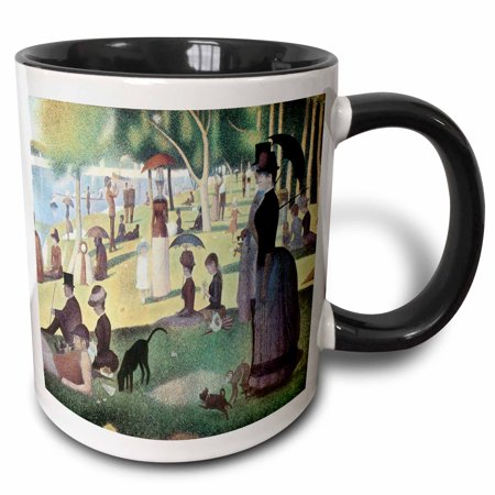3dRose A Sunday Afternoon on the Island of La Grande Jatte by Georges-Pierre Seurat - Two Tone Black Mug, 11-ounce ()