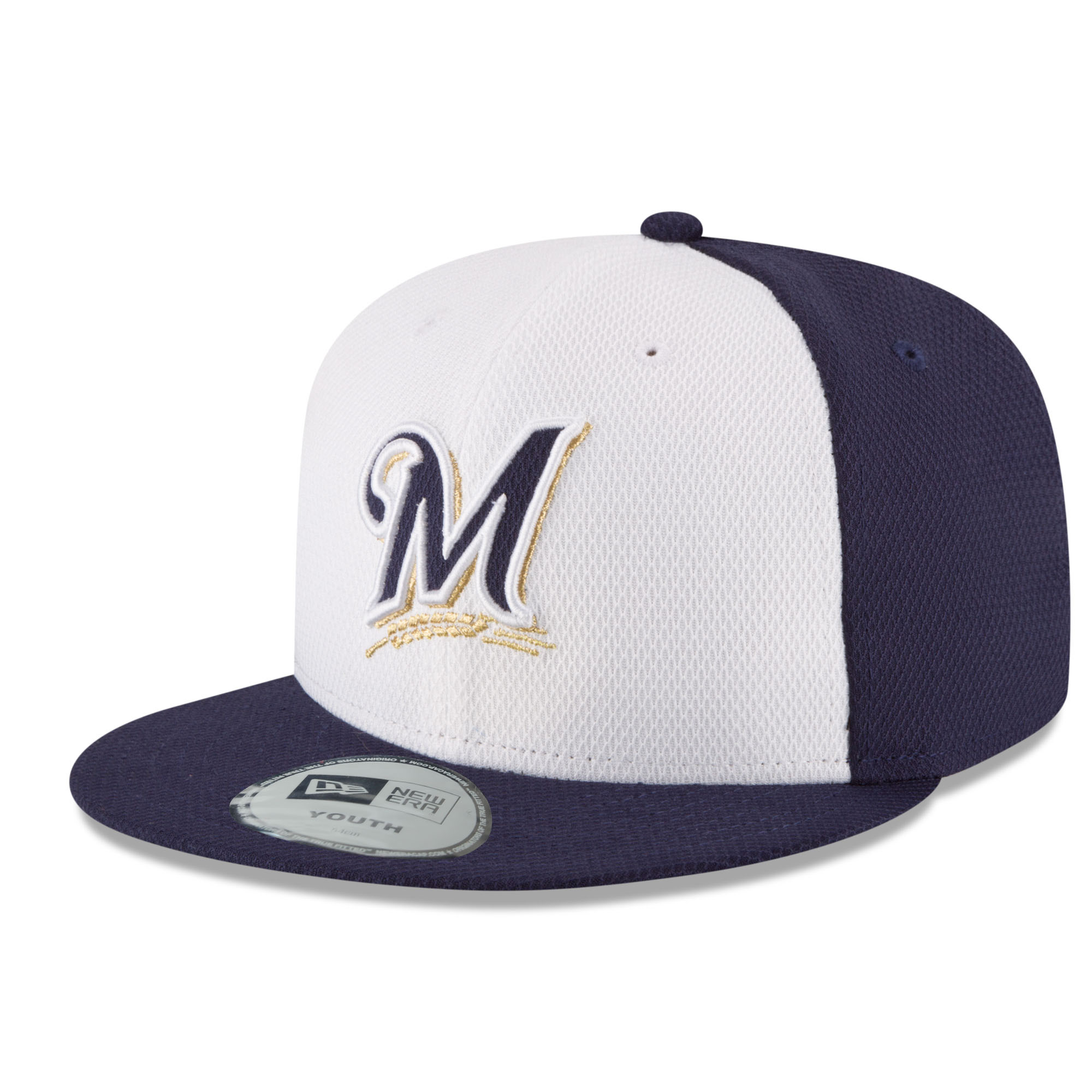 Milwaukee Brewers New Era Youth Road Diamond Era 59FIFTY Fitted Hat - Navy/White
