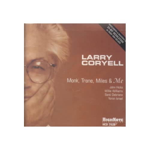 Personnel: Larry Coryell (guitar); Willie Williams (tenor saxophone); John Hicks (piano); Santi Debriano (bass); Yoron Isreal (drums).<BR>Recorded at the Van Gelder Recording Studio, Englewood Cliffs, New Jersey on May 28, 1998.  Includes liner notes by Larry Coryell.<BR>Larry Coryell was one of the first and, depending on your point of view, one of the best/worst fusion guitarists in jazz history. He's done some truly exciting, breakthrough work with Gary Burton, Philip Catherine, Carla Bley and John McLaughlin, and some then-trendy stabs at funk that are best forgotten. With MONK..., Coryell gets back to his jazz roots. By covering tunes by the greats (many of which have become jazz standards) Coryell pays homage to the jazz legends that helped shape his musical conception.<BR>Here the sound is softer and more contemplative without being dozy--his guitar has the gentle burred tone of Pat Martino and Wes Montgomery. Unlike many guitarists, Coryell doesn't stifle an idea with excess and flash. The band is equally fine: John Hicks and Santi Dibriano are masters of their instruments. Dibriano in particular is a joy to hear with his supple, sensitive, guitar-like approach to the acoustic bass. Guitar fans and mainstream jazz fans will find this album a treat, a contemporary master paying respectful tribute to jazz innovators.