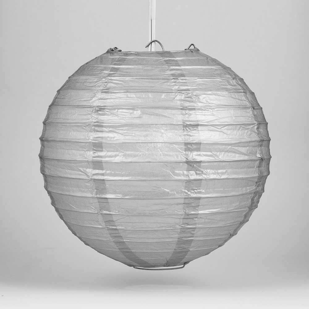 "Quasimoon 10"" Silver Round Paper Lantern, Even Ribbing, Hanging Decoration by PaperLanternStore"
