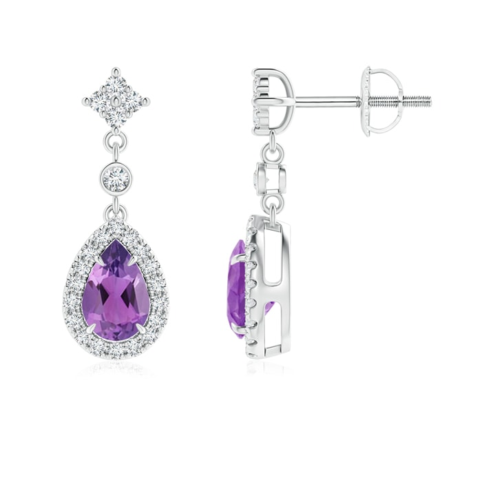 Angara Drop Amethyst and Diamond Earrings in Yellow Gold KXuKUipSDc