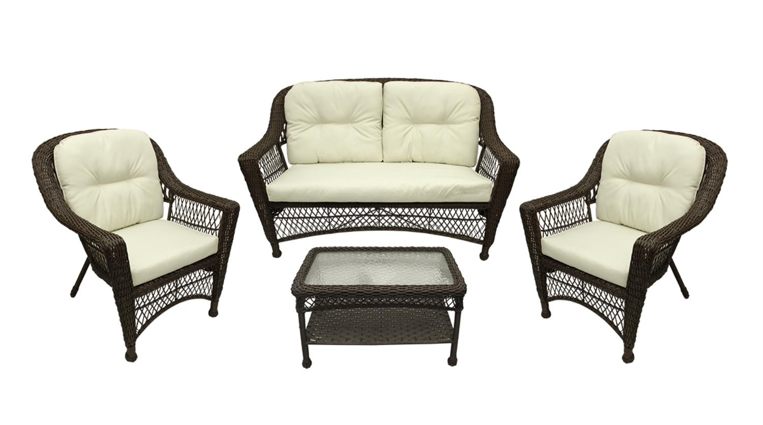4-Pc Somerset Dark Brown Resin Wicker Patio Loveseat, Chairs & Table Furniture Set Cream Cushions by Gerson