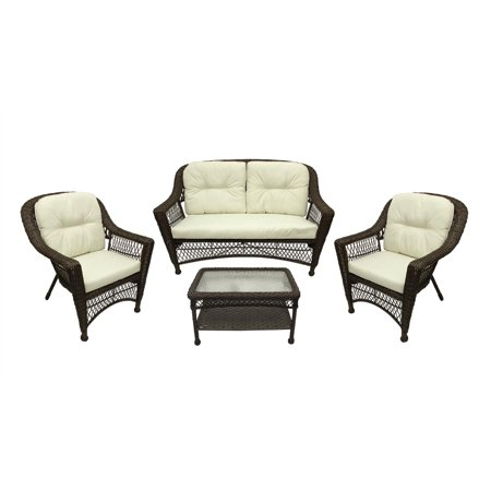 4 Pc Somerset Dark Brown Resin Wicker Patio Loveseat