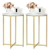 Gymax Set of 2 Round Side End Coffee Table Nightstand Faux Marble Top w/Metal Frame