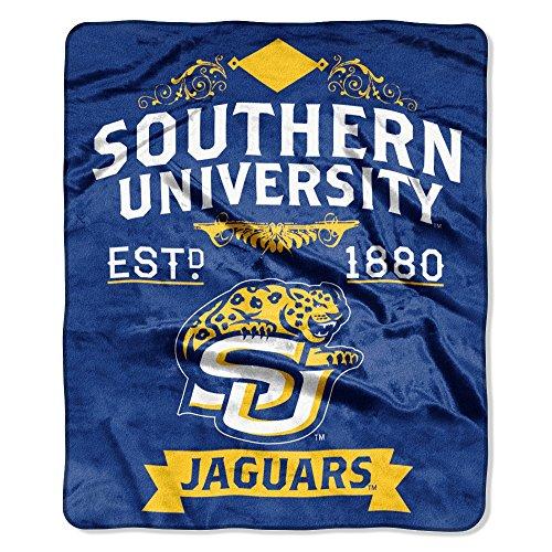 """NCAA Southern Jaguars Plush Raschel Throw Blanket, Gold, 50 x 60"""