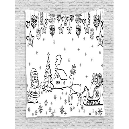 - Christmas Decorations Tapestry, Tree Ornaments Santa Sleigh Rudolph Reindeer Toys Jingle Bells Image, Wall Hanging for Bedroom Living Room Dorm Decor, 40W X 60L Inches, Black White, by Ambesonne