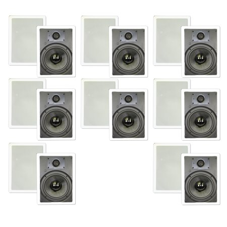 "Theater Solutions TSS8W In Wall 8"" Speakers Surround Sound Home Theater Deluxe 8 Pair Pack 8TSS8W by"