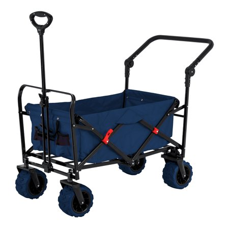 Blue Wide Wheel Wagon All-Terrain Folding Utility Wagon Garden Cart Heavy Duty