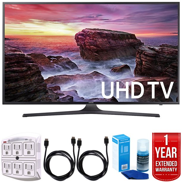 "Samsung UN40MU6290 6-Series 39.9"" LED 4K UHD Smart TV w/ Warranty Bundle includes TV, 1 Year Extended Warranty, 6ft High Speed HDMI Cable x 2, Universal Screen Cleaner, and 6-Outlet Surge Adapter"