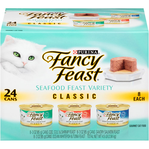 Purina Fancy Feast Classic Seafood Feast Variety Cat Food 24-3 oz. Cans