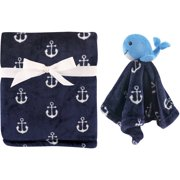 Hudson Baby Boy and Girl Plush Blanket and Security Blanket - Blue Monkey