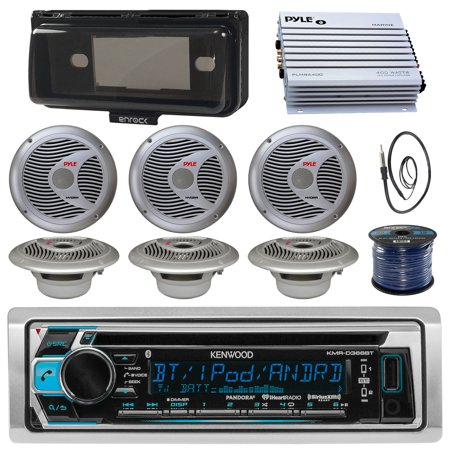 Kenwood KMRD372BT Marine Boat Audio Bluetooth CD Player Receiver W/ Protective Cover - Bundle Combo With 6x Silver 6.5'' 150W Waterproof Stereo Speakers + Enrock Antenna + 400W Amplifier + (400w Stereo)