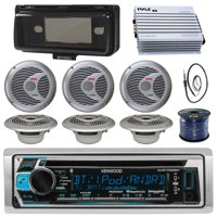 Kenwood KMRD372BT Marine Boat Audio Bluetooth CD Player Receiver W/ Protective Cover - Bundle Combo With 6x Silver 6.5'' 150W Waterproof Stereo Speakers + Enrock Antenna + 400W Amplifier + 50-FT Wire