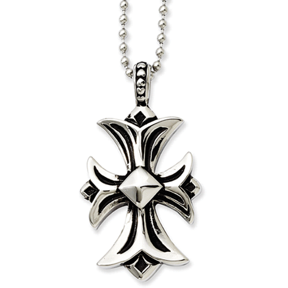 Antiqued Stainless Steel Fleur-de-lis Cross Necklace - 22 Inch