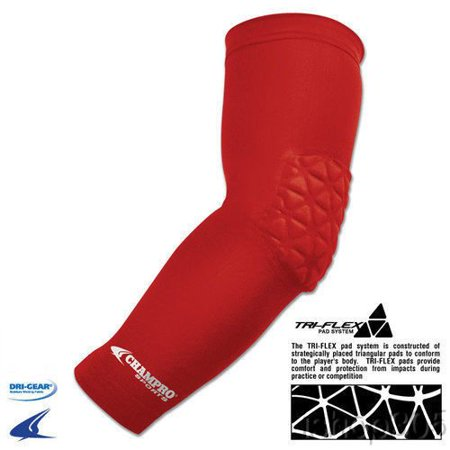 Junior Varsity Arm Sleeve with Elbow Padding, Scarlet, 4 inch section of tri-flex pad System covers the Elbow for added protection against impact By Champro