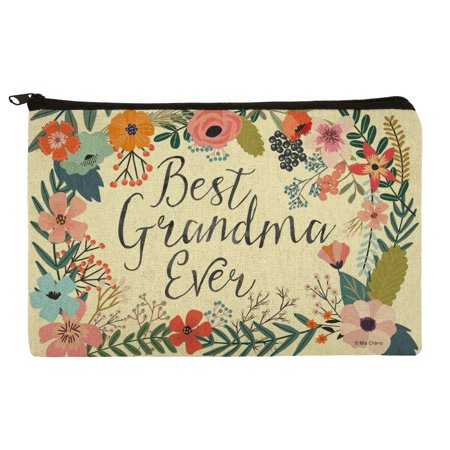 Best Grandma Ever Floral Makeup Cosmetic Bag Organizer