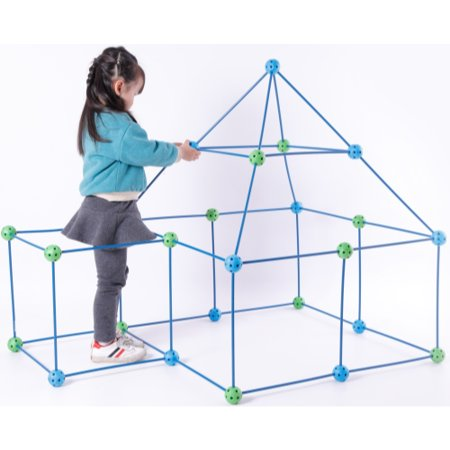 Plastic Building Blue and Green Construction Forts game, 72 Pieces](Fort Builder Kit)