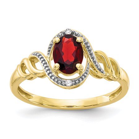 10kt Yellow Gold Red Garnet Diamond Band Ring Size 7.00 Stone Birthstone January Oval Style Fine Jewelry Ideal Gifts For Women Gift Set From Heart