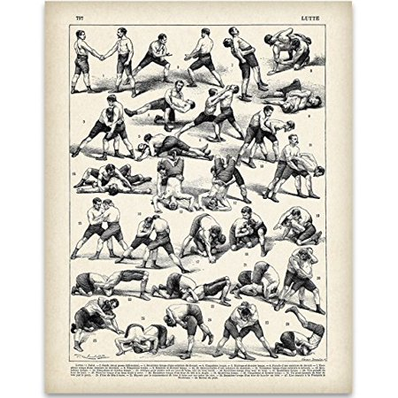 Antique French Wrestling Illustrations Art Print - 11x14 Unframed Art Print - Perfect Wrestling Gym - Antique French Art