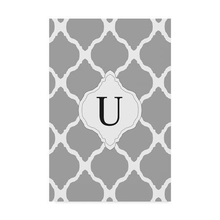 Trademark Fine Art 'U Gray Monogram' Canvas Art by Art Licensing Studio - Monogram Canvas