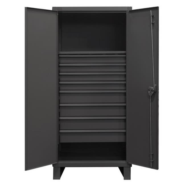 12 Gauge Recessed Door Style Lockable Cabinet with 1 Fixed Shelf & 8 Drawers, Gray - 36 in.