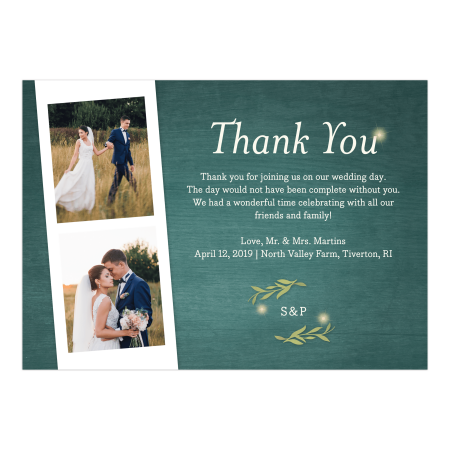 Personalized Wedding Thank You Card - Greenery Lights - 5 x 7 - Halloween Photo Thank You Cards